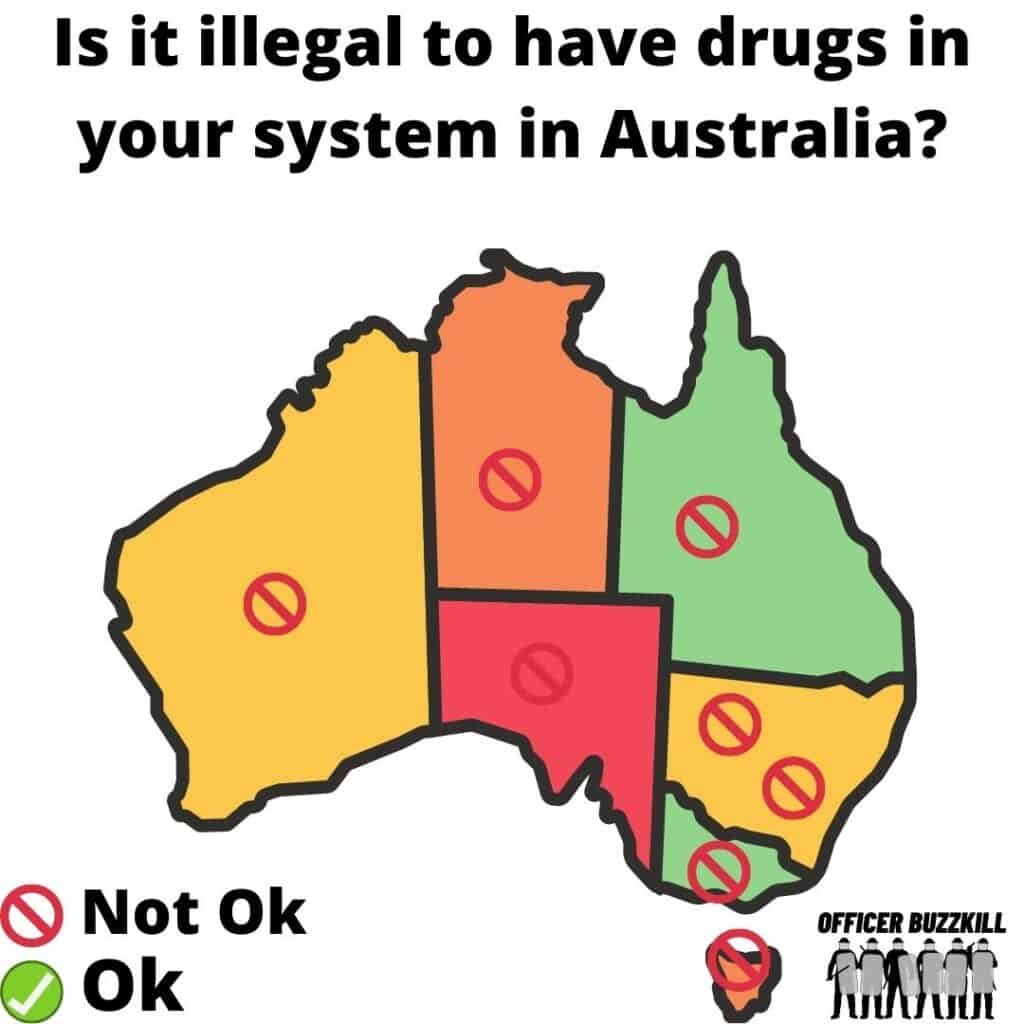 Is it illegal to have drugs in your system in Australia?