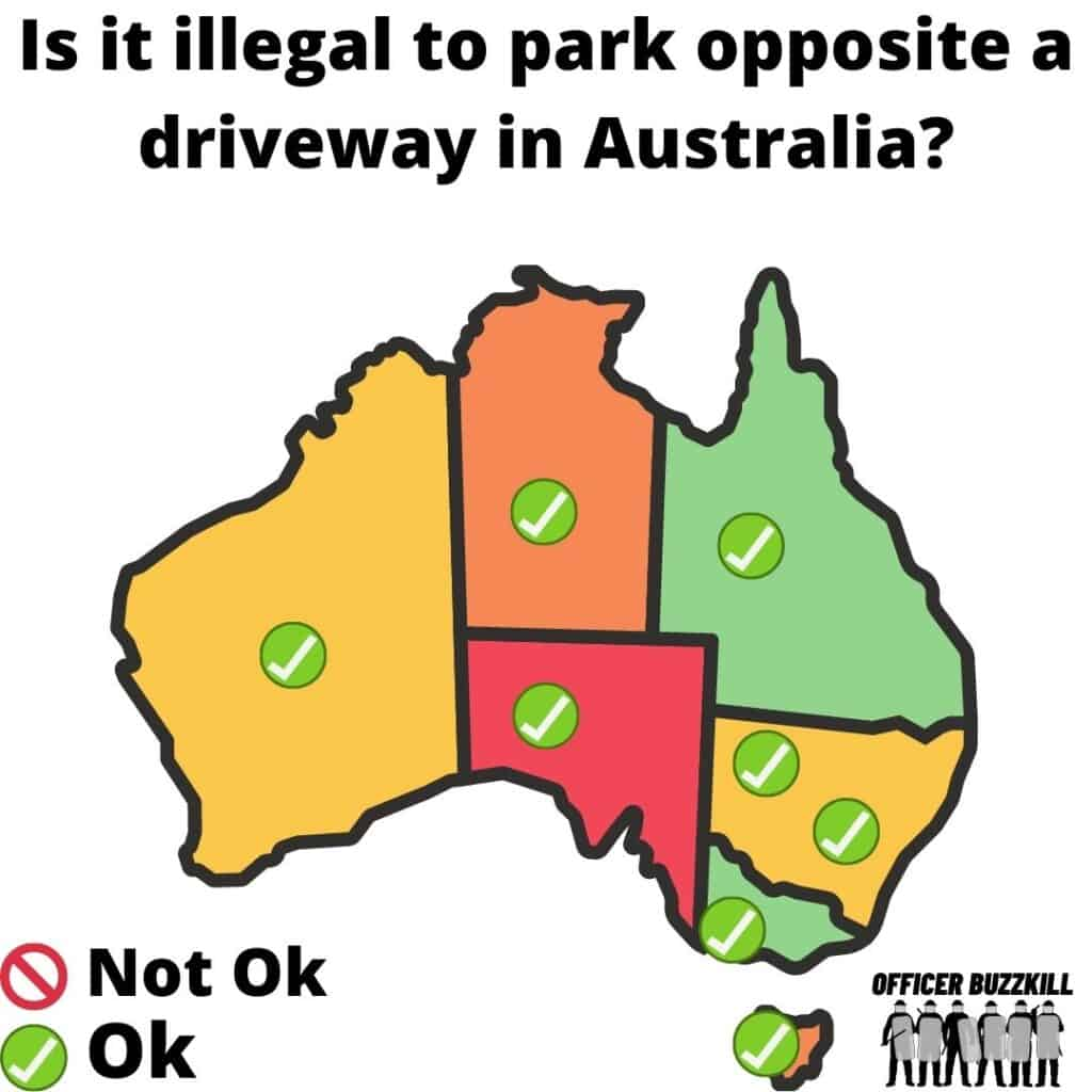 Is it illegal to park opposite a driveway in Australia?