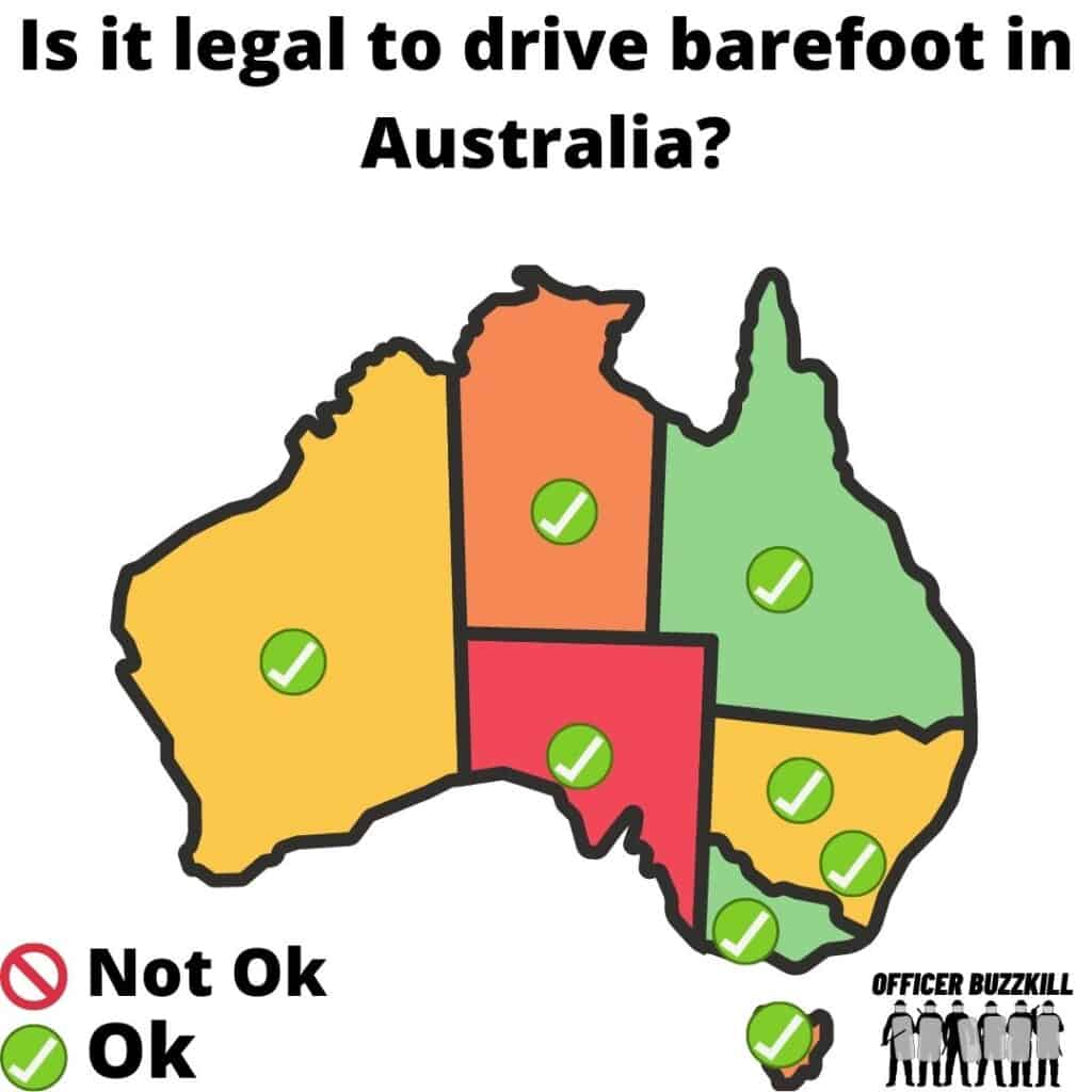 Is it legal to drive barefoot in Australia?